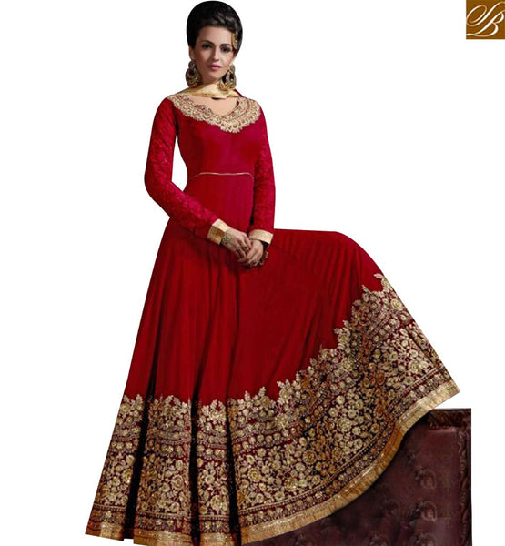 STYLISH BAZAAR SHOP MAROON ANARKALI SALWAR KAMEEZ HAVING ELEGANT BORDER WORK & PLEASING WORK ON THE SLEEVES SLHOT2213