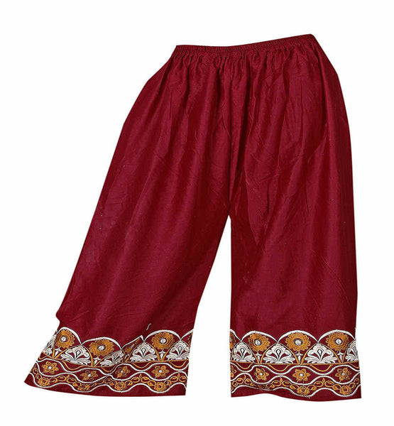 COTTON PALAZZO PANTS WITH EMBROIDERY STRETCHABLE ELASTIC WAISTBAND SKPL2214