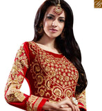 STYLISH BAZAAR PRESENTS DELIGHTFUL CREAM & RED PARTY WEAR ANARKALI SUIT WITH HEAVY FLORAL EMBROIDERY WORK SLHOT2215