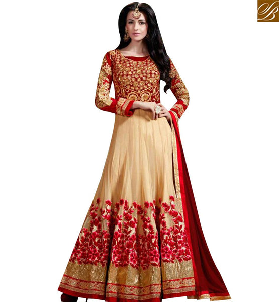 STYLISH BAZAAR DELIGHTFUL CREAM & RED PARTY WEAR ANARKALI SUIT WITH HEAVY FLORAL EMBROIDERY WORK SLHOT2215
