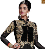 WONDERFUL BLACK GEORGETTE PARTY WEAR DESIGNER ANARKALI SALWAR KAMEEZ WITH FLORAL WORK SLHOT2216
