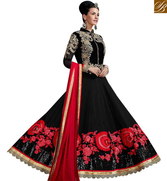 STYLISH BAZAAR WONDERFUL BLACK GEORGETTE PARTY WEAR DESIGNER ANARKALI SALWAR KAMEEZ WITH FLORAL WORK SLHOT2216