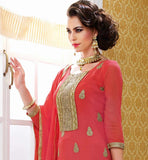 2015 STYLE SIMPLE & SOBER STRAIGHT CUT FULL LONG SALWAR KAMEEZ DESIGN 221 PINK STRAIGHT DRESS BELA FASHIONS SURAT