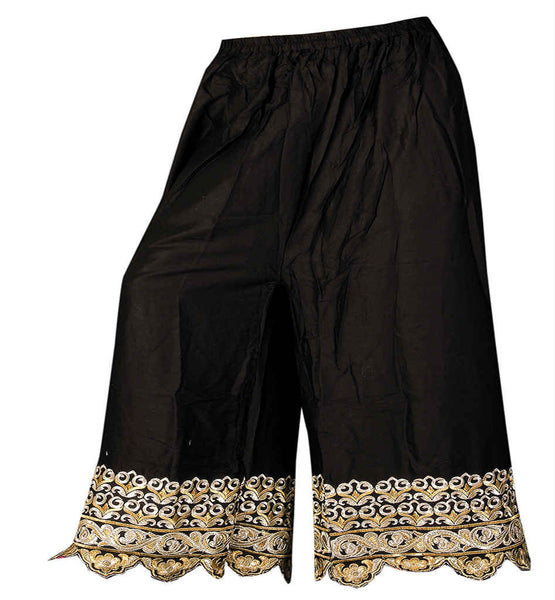 WOMEN BLACK MALAI COTTON EMBROIDERED PALAZZO TYPE SALWAR BOTTOMS black