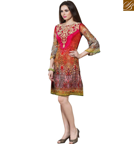 MARVELOUS DESIGNER DIGITAL PRINT KURTI VDSMM222 BY PINK & BROWN