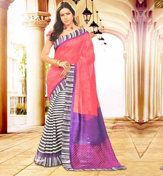 INDIAN BLOUSE PATTERNS FOR HALF SAREES COLLECTION AT LOWEST PRICE MULTI COLOR BHAGALPURI SILK CASUAL WEAR SAREE WITH PEACH BHAGALPURI PRINTED BLOUSE