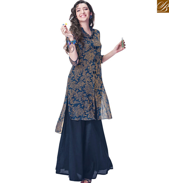 BUBBLY LEAF AND PETAL DESIGN KURTI RTINW223 BLUE