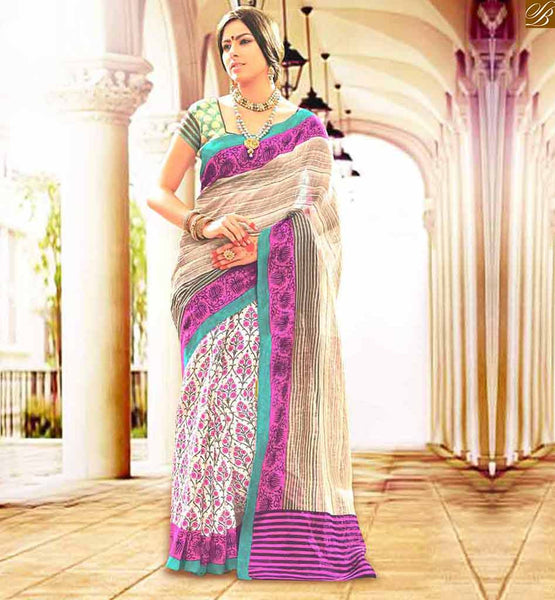 INDIAN DESIGNER BLOUSES HOT COLLECTION WITH SAREES DESIGNER WEAR CHIKOO AND OFF WHITE BHAGALPURI CASUAL WEAR SAREE WITH GREEN BHAGALPURI BLOUSE