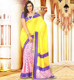 LATEST BLOUSE PATTERNS AND HALF SAREES MODELS FOR SLIM LOOKING YELOW BHAGALPURI SILK CASUAL WEAR SAREE WITH PURPLE BHAGALPURI PRINTED BLOUSE