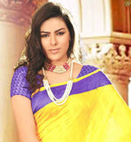 YELOW BHAGALPURI SILK CASUAL WEAR SAREE WITH PURPLE BHAGALPURI PRINTED BLOUSE NEW LOOK COLLECTION ABSTRACT PRINT WEAVING ON LOWER PART AND PALLU WITH YELLOW COLOR BORDER WORK SAREE