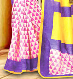 NEW LOOK COLLECTION ABSTRACT PRINT WEAVING ON LOWER PART AND PALLU WITH YELLOW COLOR BORDER WORK SAREE LATEST BLOUSE PATTERNS AND HALF SAREES MODELS FOR SLIM LOOKING