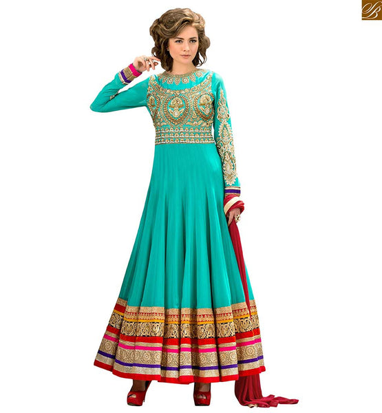 Photo of Anarkali salwar kameez designs catalogue style long dress green pure-georgette golden floral embroidered anarkali salwar kameez with green santoon bottom
