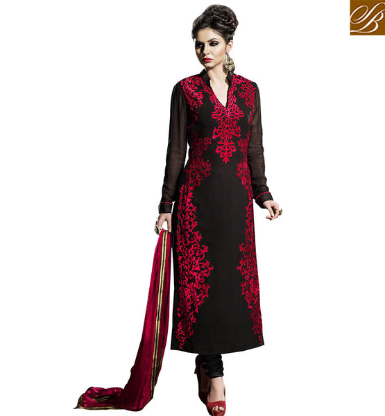 STYLISH BAZAAR  STUNNING BLACK DESIGNER STRAIGHT CUT SALWAAR SUIT BLFS2251