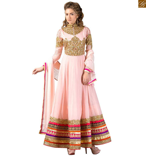 Image of Best suits back neck designs for salwar kameez ethnic dress light-dusty-pink pure georgette floral & kerry style heavy golden embroidered kameez with matching bottom