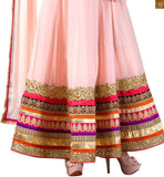 Photo of Light-dusty-pink pure georgette floral & kerry style heavy golden embroidered kameez with matching bottom