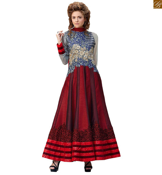 Image of Latest salwar designs and pakistani kurta long dress for women magenta-red-grey pure-silk kameez with floral embroidery work on neck line and red santoon bottom