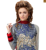 Photo of Attractive latest salwar designs and new collection pakistani kurta long dress for women magenta-red-grey pure-silk kameez with floral embroidery work on neck line and red santoon bottom