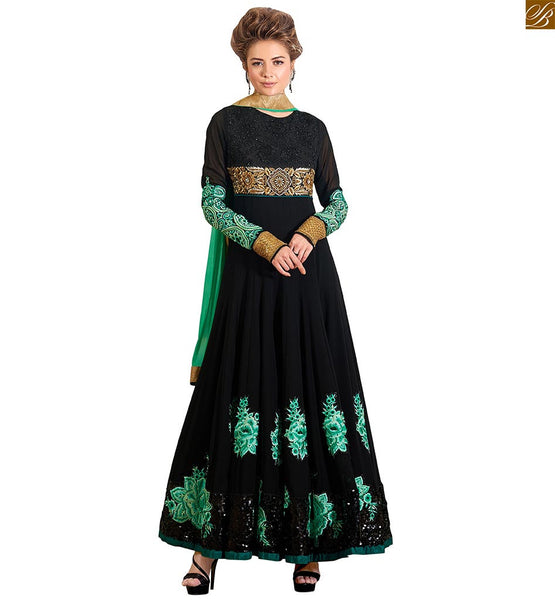 Image of Smart colour combination for salwar kameez cute dresses pattern black pure-georgette floral embroidered patch work on salwar kameez with black santoon bottom.