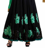 Photo of Black pure-georgette floral embroidered patch work on salwar kameez with black santoon bottom.