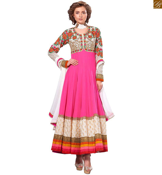 Photo of Jacket style suits indian salwar kameez 2015 of latest fashion pink pure-georgette heavy floral embroidered salwar kameez with pink santoon bottom