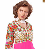 Image of Eye catching jacket style suits indian salwar kameez 2015 of latest fashion for indian women pink pure-georgette heavy floral embroidered salwar kameez with pink santoon bottom