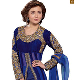 Photo of New collection of trendy cute dresses boutique type kurta salwar best suits pair for new indian generation blue pure-georgette golden floral embroidery & stone work salwar kameez with blue santoon bottom