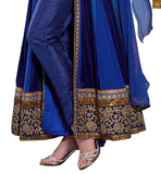 Image of Blue pure-georgette golden floral embroidery & stone work salwar kameez with blue santoon bottom