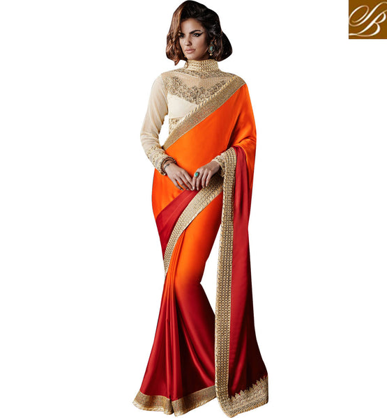 IRRESISTIBLE SHADED SATIN GEORGETTE SAREE WITH IMPORTED FABRIC BLOUSE