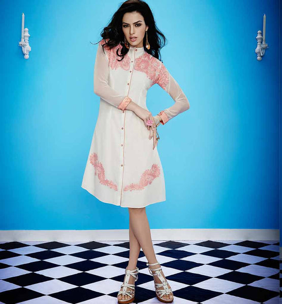LONG SHIRT STYLE BUTTON PATTERN EMBROIDERED DESIGNER KURTIS BUY ONLINE
