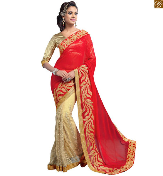 STYLISH BAZAAR ANGELIC RED AND CREAM SAREE WITH CREAM BLOUSE RTVLR23