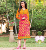 PINK AND ORANGE PURE COTTON ETHNIC INDIAN LADIES KURTA DESIGN LOOK FABULOUS AT YOUR WORK PLACE WITH THIS EXCITING TUNIC