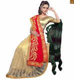 FROM STYLISH BAZAAR ANGELIC RED AND CREAM SAREE WITH CREAM BLOUSE RTVLR23