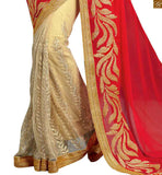BROUGHT TO YOU BY STYLISH BAZAAR ANGELIC RED AND CREAM SAREE WITH CREAM BLOUSE RTVLR23