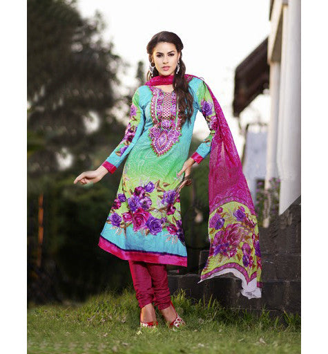 COTTON PRINTED & EMBROIDERED SALWAR KAMEEZ GLCT2304- STYLISHBAZAAR - Cotton salwar kameez online, designer Cotton salwar suits online, salwar kameez Shopping, Women's Casual Dresses India, Cotton Casual wear suits