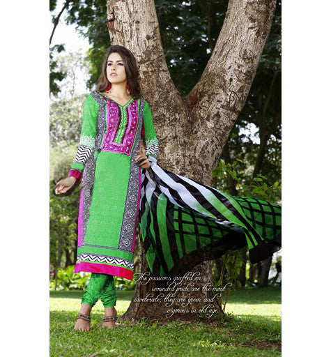 COTTON PRINTED & EMBROIDERED SALWAR KAMEEZ GLCT2309 - StylishBazaar - Cotton salwar kameez online, designer Cotton salwar suits online, salwar kameez Shopping, Women's Casual Dresses India, Cotton Casual wear suits