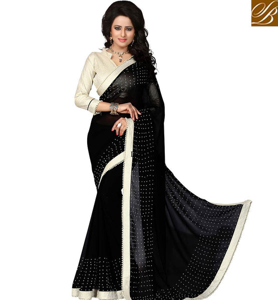 GORGEOUS DESIGNER BLACK SAREE WITH STONE WORK VDAIN231