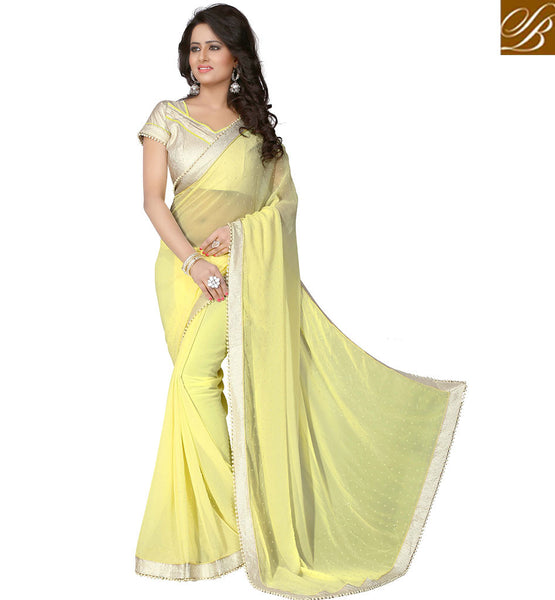 ATTRACTIVE DESIGNER YELLOW SAREE WITH PEARL PATTERN VDAIN233 BY YELLOW