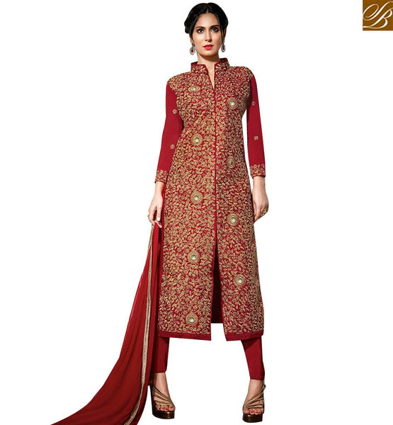 STYLISH BAZAAR THRILLING RED COLORED SALWAR SUIT WITH OUTSTANDING EMBROIDERY WORK SLBLA2340