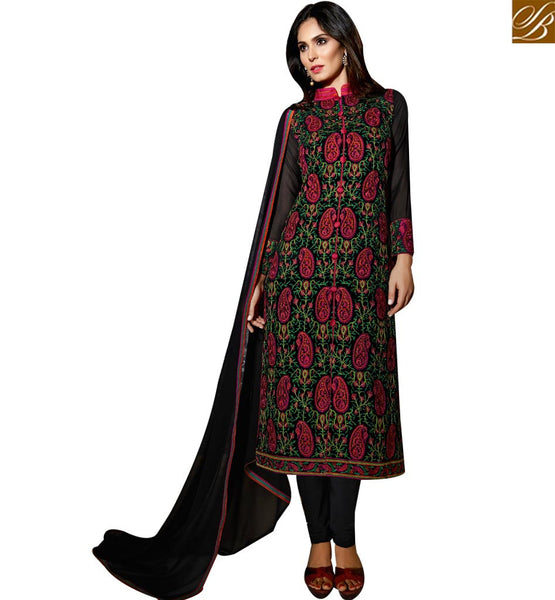 STYLISH BAZAAR THRIVING BLACK COLORED SUIT WITH MULTI COLOUR EBMBROIDERY WORK SLBLA2342