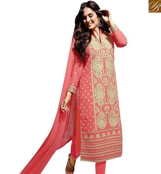 STYLISH BAZAAR PROSPEROUS PINK COLORED SUIT WITH EYE CATCHING EMBROIDERED WORK SLBLA2343