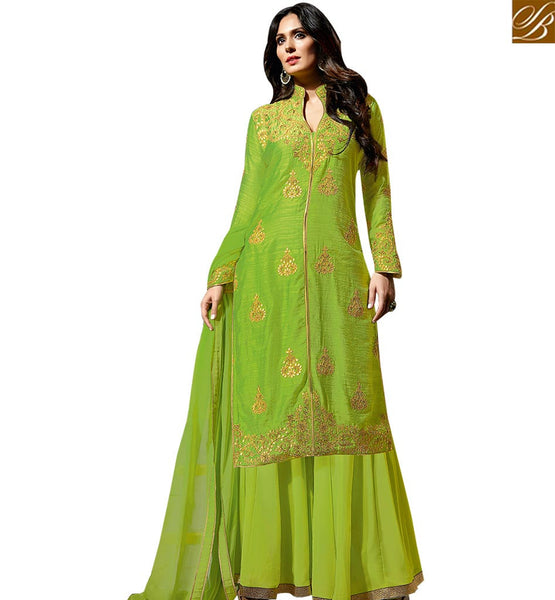 STYLISH BAZAAR BREATHTAKING DESIGNER GREEN COLORED PLAZZO STYLE SALWAR KAMEEZ SLBLA2344