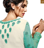 FROM STYLISH BAZAAR ATTRACTIVE SKY BLUE & OFF WHITE COLORED DESIGNER SUIT SLBLA2346