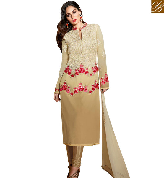 STYLISH BAZAAR SPLENDID BEIGE COLORED SALWAR SUIT WITH FLORAL EMBROIDERED WORK SLBLA2347