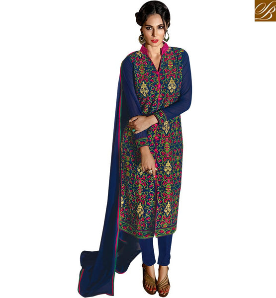 STYLISH BAZAAR REMARKABLE BLUE COLORED DESIGNER SALWAR KAMEEZ SLBLA2348