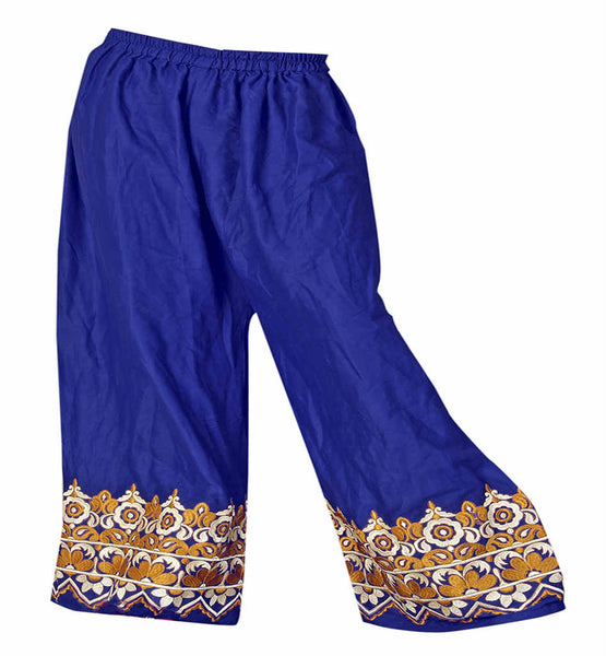 pic of COTTON EMBROIDERED PALAZZO PANTS FOR LADIES WEAR ONLINE INDIA  BOLD FASHION STATEMENT COTTON BOTTOM WEAR