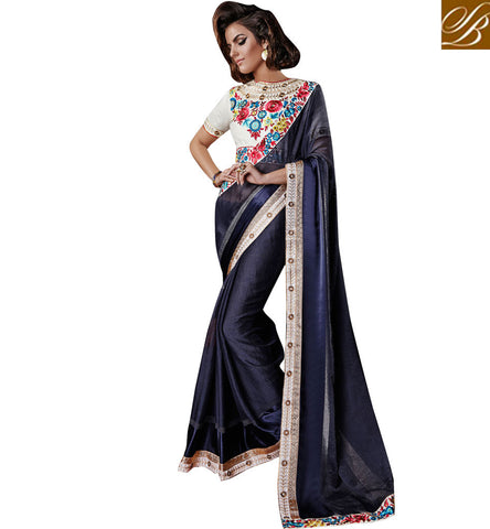 AWESOME DESIGNER WEDDING SAREE WITH STYLISH BLOUSE ONLINE SHOPPING