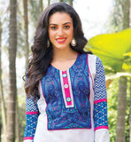 NEW 2015 PATTERN PRINTED KURTHI TOP SHOP ONLINE INDIA PRINTED KURTI DESIGNS DESIGNER NECK AND BACK PATTERN