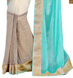 STYLISH BAZAAR INTRODUCES GRACEFUL COMBINATION OF SKY BLUE AND CREAM EMBROIDERED SARI WITH CREAM BLOUSE RTVLR24
