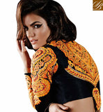 KHWAAB COLLECTION OUTSTANDING ORANGE SHADED SAREE WITH RICH LOOK BLOUSE