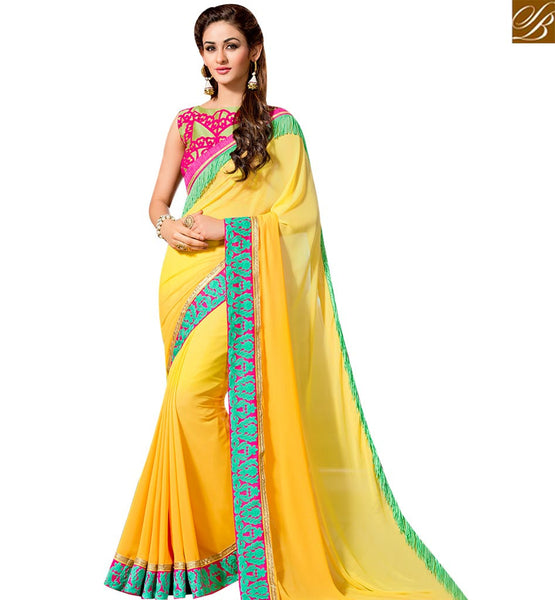 STYLISH BAZAAR MAGNIFICENT YELLOW GEORGETTE DESIGNER SAREE HAVING LACE BORDER WITH EMBROIDERED BLOUSE SLVAR2401